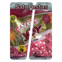 Balao 9 Joy Poa Rosa C/ Branco Pt C/25 Bexiga Festa