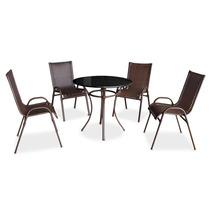 Conjunto Jogo Sala De Jantar Mesa Maceió Com 04 Cadeiras