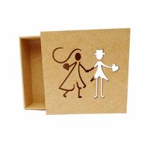 Caixa Noivinhos Palito 15x15x5 - Mdf Crú - Casamento - Ref06