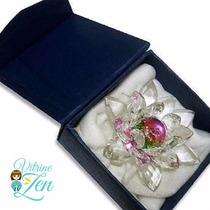 Flor De Lótus Cristal Boreal 8cm C/cx P/ Presente