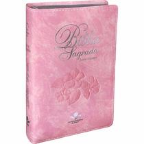 Bíblia Feminina Evangélica Letra Gigante Rosa Nobre Especial