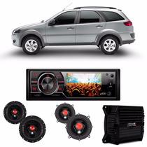 Kit 4 Auto Falantes Palio Wekend + Dvd 3,2 + Amplificador