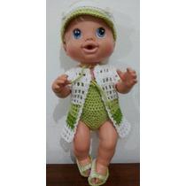 Roupinhas De Crochet Branca E Verde Para Boneca Baby Alive