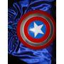 Capa Azul Setim E Escudo Disco Capitão America Fantasia