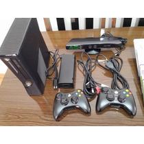 Xbox 360 Slim 250gb + Kinect + 2 Controles + 4 Jogos