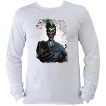 Camiseta Adulto Manga L. Batman Bat Man Coringa Joker B