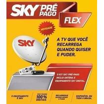 Receptor Sky Pré Pago Sd + Kit De Instalação + Antena 60cm