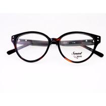 Óculos De Grau Smart Retro Marrom Redonda Grande