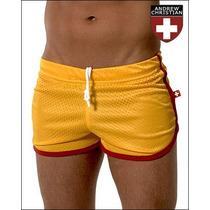 Cueca Boxer Andrew Christian Mesh Shorts Amarela Sunga