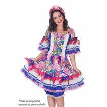 Vestido De Festa Junina Luxuoso Adulto 38 Ao 46 C/ Shortinho