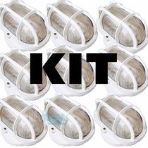 Kit 7 Luminárias Arandela Tartaruga De Vidro E Aço # Externa