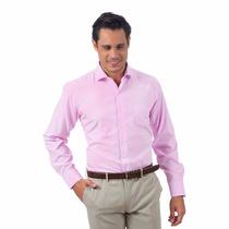 Camisa Social Rosa Masculina Manga Longa Pronta Entrega