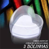 Embalagem De Coração Acrílica Para Bolinhas Joias C/ Espuma