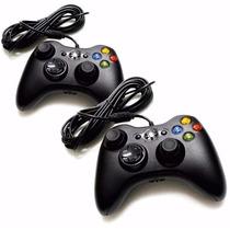 Kit Com 2 Controles De Xbox 360 É Computador Pc Com Fio