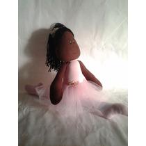 Boneca Artesanal De Pano Bailarina Negra Decoração Quarto