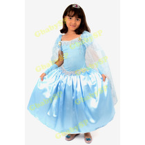 Fantasia Vestido Frozen Luxo Elsa - Tamanho 10 + Sapatilha