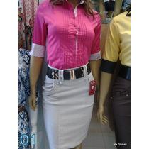 Saia Em Algodão Cintura Alta Linda Modelo Secretária