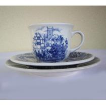 Trio Cerâmica Branca Para Chá Decorado - Oxford - Biona