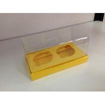 Caixa 2 Cupcakes Com Base Papel Tampa De Acetato 10 Uni