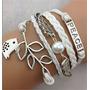 Pulseira Bracelete Feminina Em Couro Branco - Paz