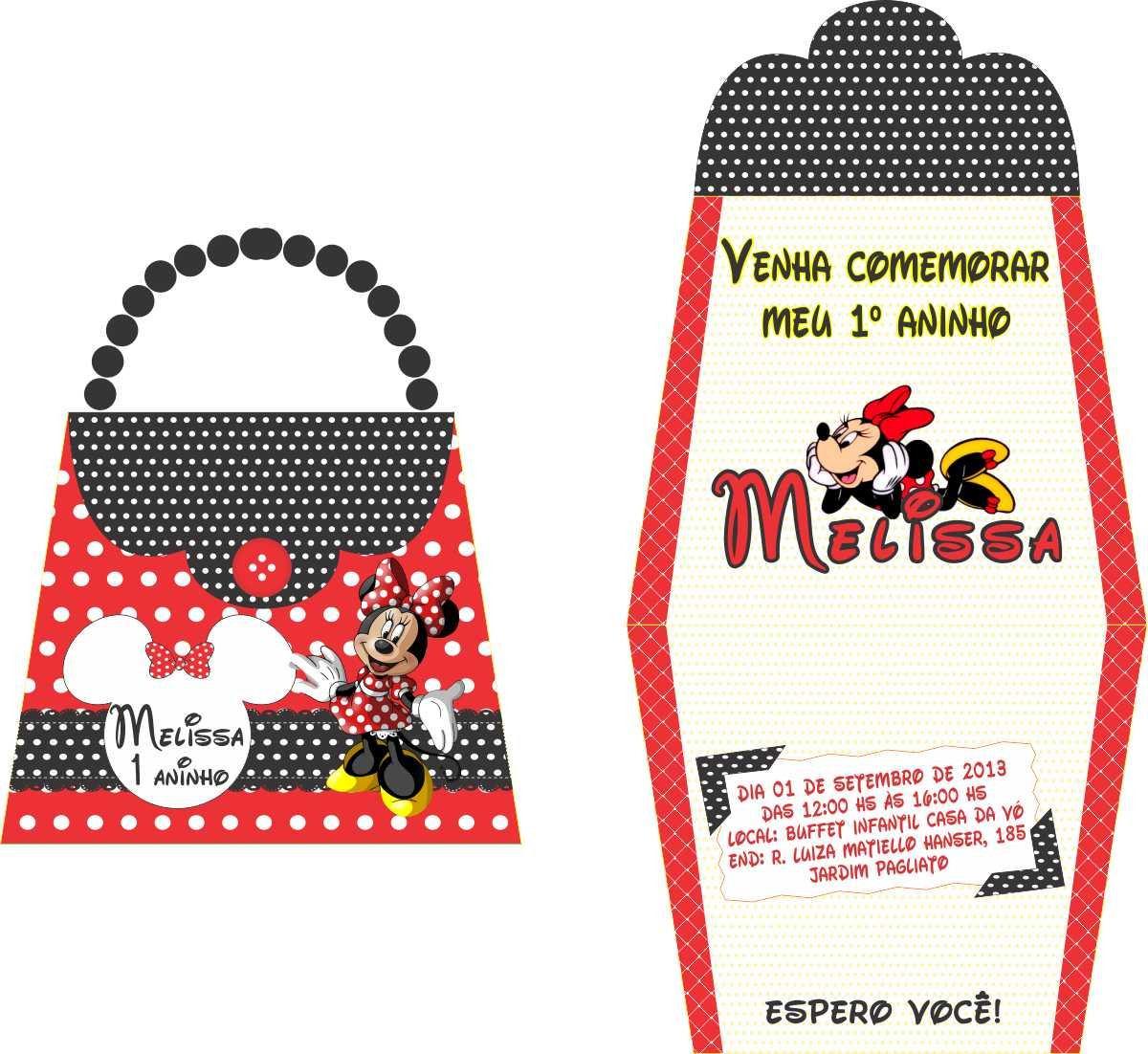 30 convites bolsinha minnie vermelha, qualquer tema