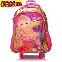 Mochila Rodinhas (g) Barbie Portal Secreto Rosa Dourado