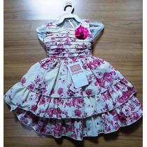Vestido Infantil Festa Luxo Rosas Pink 750 - Melina