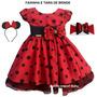 Vestido Infantil Festa Minnie Joaninha Luxo Vermelho E Tiara