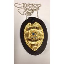 Distintivo Luxo Agente Segurança Dourado