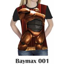 Camiseta Blusa Básica Big Hero Baymax Feminina Disney 001