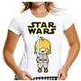 Camiseta Baby Look Luke Skywalker Star Wars Darth Vader R2