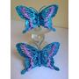 Enfeites Festas Infantil 2 Borboletas Azul Decorada Glitter