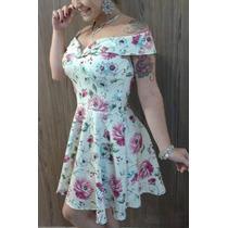 Vestido De Neoprene Lindo Creme Com Flores Rosas Verão Sexy