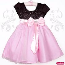 Vestido Infantil Festa Luxo Modelo Princesa Com Coroa