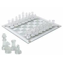 Jogo Tabuleiro De Xadrez Vidro Fosco E Cristal Grande 35x35