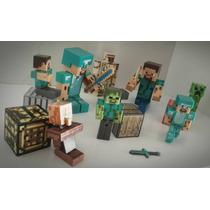 Minecraft Kit 12 Peças Articulados Som Luz - Frete Grátis
