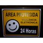 Placa Vigilância Eletrônica Área Protegida Monitorada 24 Hrs
