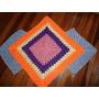 Tapete De Crochê Em Barbante Colorido 1,10 Comp / 80cm Larg