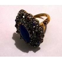 Anel Dourado Com Pedra Azul E Cristais Aro 19
