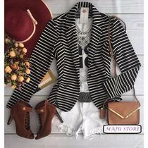 Blazer Feminino Listrado Preto E Branco Moda Outono Inverno