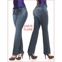 Calça Feminina Flare Jeans Hot Pants Boca Sino Com Lycra 809