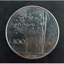 Moeda Republica Itália 100 Cem Lire Liras - 1979 - Inox 28mm