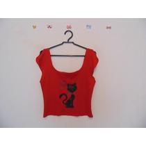 Blusa Feminina Vermelha Estampa Gato Cód. 461