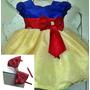 Vestido Infantil De Festa Branca De Neve Com Tiara E Brinde