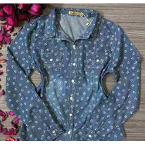 Camisa Blusa Jeans Feminina Estampada Ancora Pronta Entrega