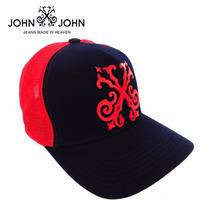 Boné Tela John John Azul E Vermelho Original