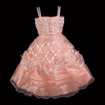 Vestido Infantil Princesa/ Festa/ Florista Flores Salmão