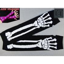 Luvas Sem Dedo Pretas Caveira Esqueleto Fantasia Rock Punk
