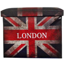 Puff Bau Dobravel Decoracao Londres Guarda Volume Couro Ecol