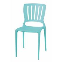 04 Cadeiras Sofia Encosto Vazado Vertical Azul Tramontina
